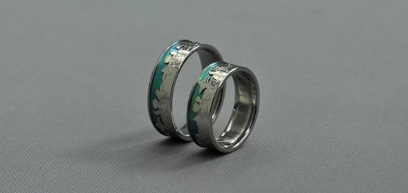 Delia – Anódizált Titán/Fehérarany – Jegygyűrű, Karikagyűrű