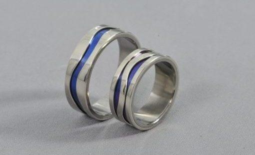 River – Anódizált Titán/Fehérarany – Jegygyűrű, Karikagyűrű