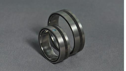 Ében+ Kék Gyémánt – Titán/Ében/Gyémánt – Jegygyűrű,Karikagyűrű