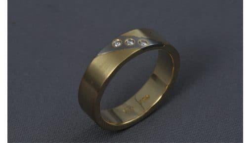 Inlay – Arany/Fehérarany/Gyémánt – karikagyűrű, jegygyűrű