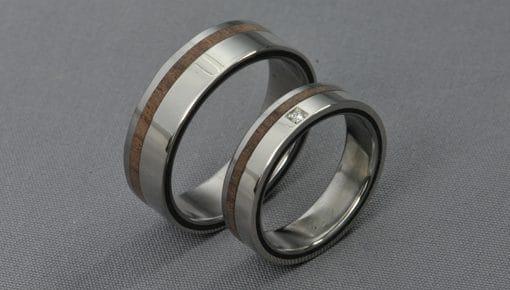 Paliszander- fehérarany/titán/paliszander/gyémánt – Karikagyűrű, Jegygyűrű