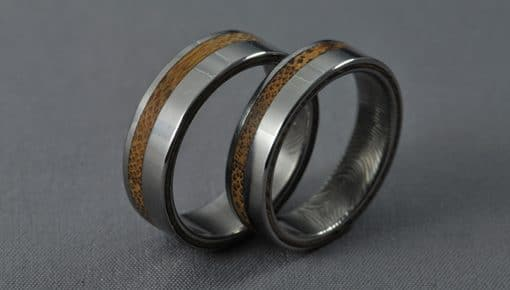 Bamboo – Titán/Bambusz/Ujjlenyomat – Jegygyűrű,Karikagyűrű